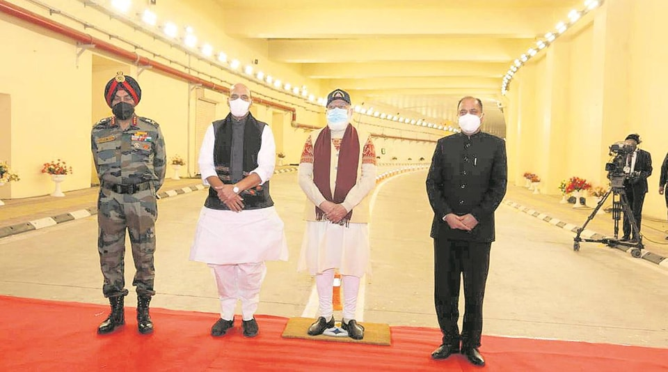 Prime Minister Narendra Modi is seen with defence minister Rajnath Singh, Himachal Pradesh chief minister Jai Ram Thakur and the Border Roads Organisation (BRO) chief Lieutenant General Harpal Singh inside the Atal Tunnel.