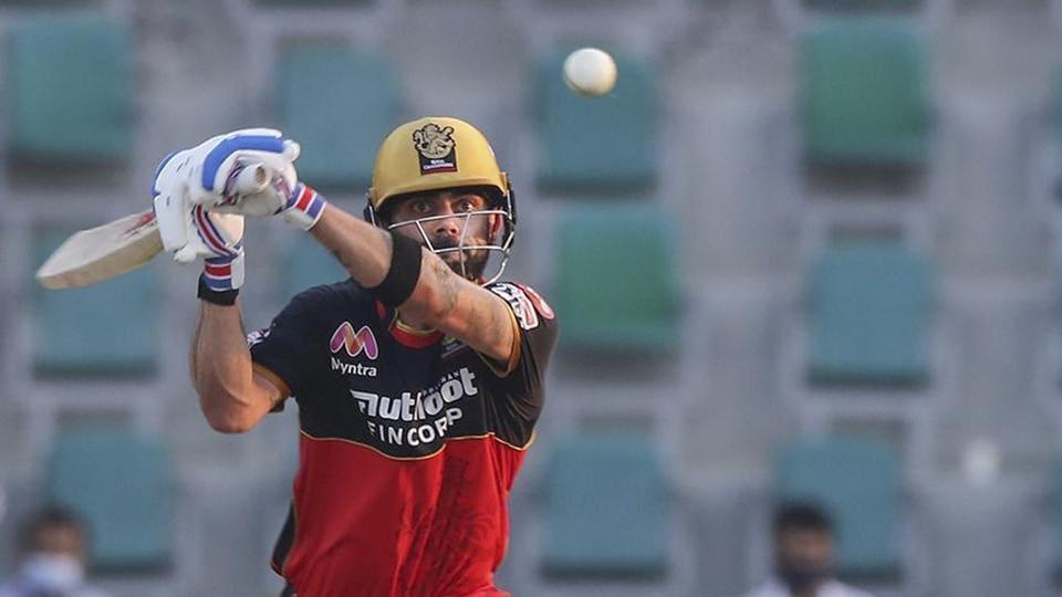 Royal Challengers Bangalore skipper Virat Kohli plays a shot during IPL 2020 cricket match against Rajasthan Royals.