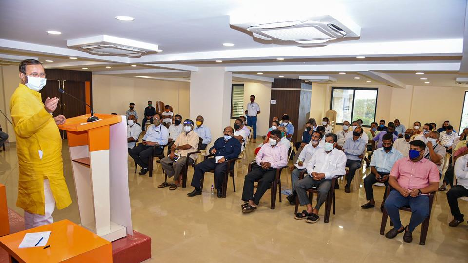 Union Minister for Information and Broadcasting Prakash Javadekar holds a meeting with farming stakeholders at Mapusa in Goa.