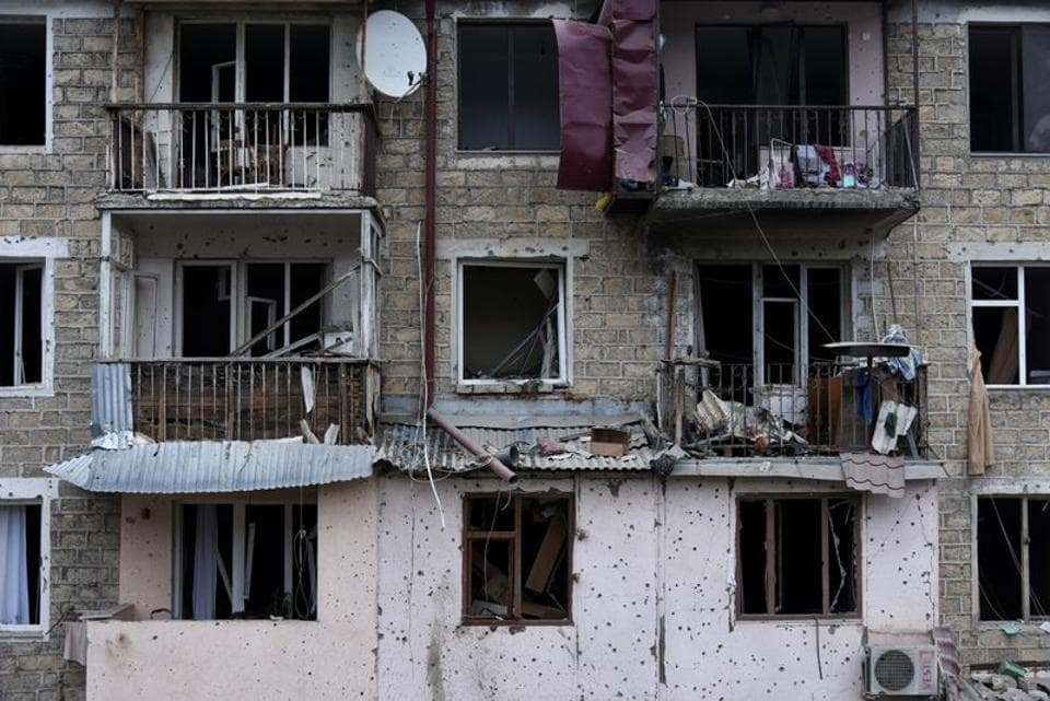 Aftermath of shelling during a military conflict over the breakaway region of Nagorno-Karabakh in Stepanakert. David Ghahramanyan/NKR InfoCenter/PAN Photo/Handout via REUTERS