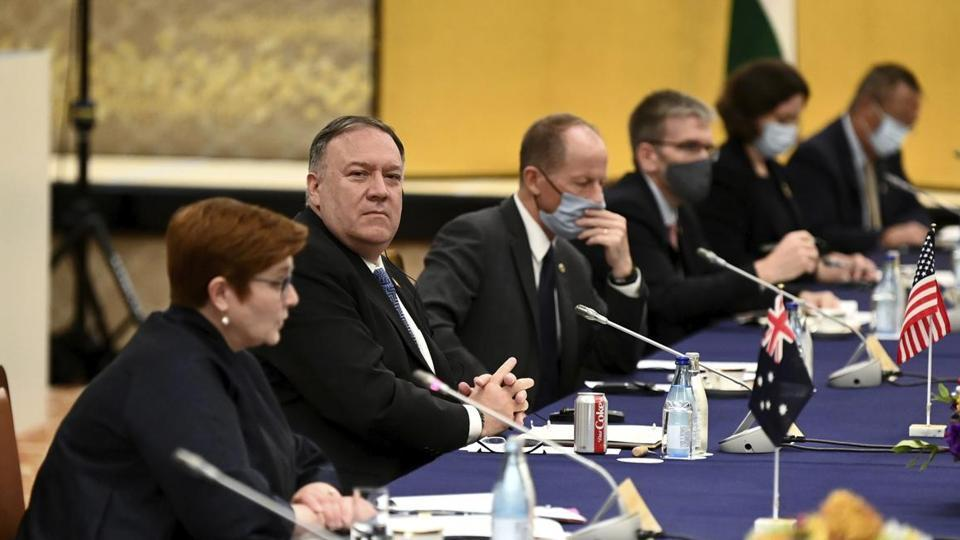 Australia's Foreign Minister Marise Payne, left, and US Secretary of State Mike Pompeo, second from left, attend the four Indo-Pacific nations' foreign ministers meeting in Tokyo.