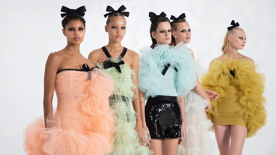 Pieces from Giambattista Valli's latest collection showcased at Paris Fashion Week.