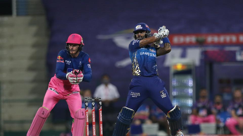 Suryakumar Yadav hits a shot. (IPL/Twitter)