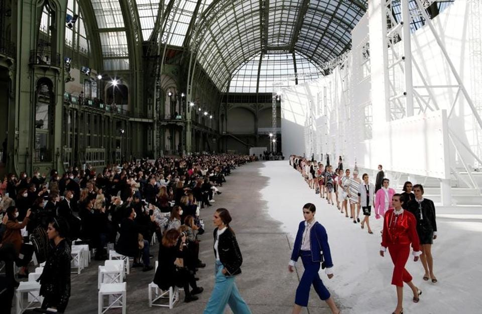 Thanks to the Covid-19 pandemic, only a limited number of 'fashionistas' were able to attend the show organised in the immense Grand Palais in central Paris. (REUTERS)