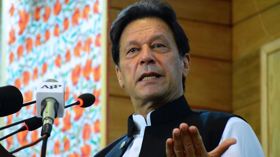 A file photo of Pakistan Prime Minister Imran Khan during an address in Muzaffarabad. The protests in Humza Valley are taking place in the backdrop of Islamabad's mission to hold elections in GB, a plan that has been rejected by New Delhi.