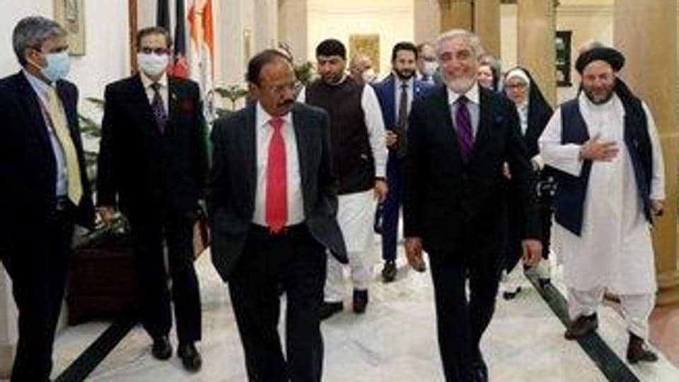 Abdullah Abdullah, chairman of the High Council for National Reconciliation in Afghanistan, met Ajit Doval on Wednesday evening to brief him on the talks between the Afghan government and the Taliban at Doha in Qatar. (Photo @DrabdullahCE)