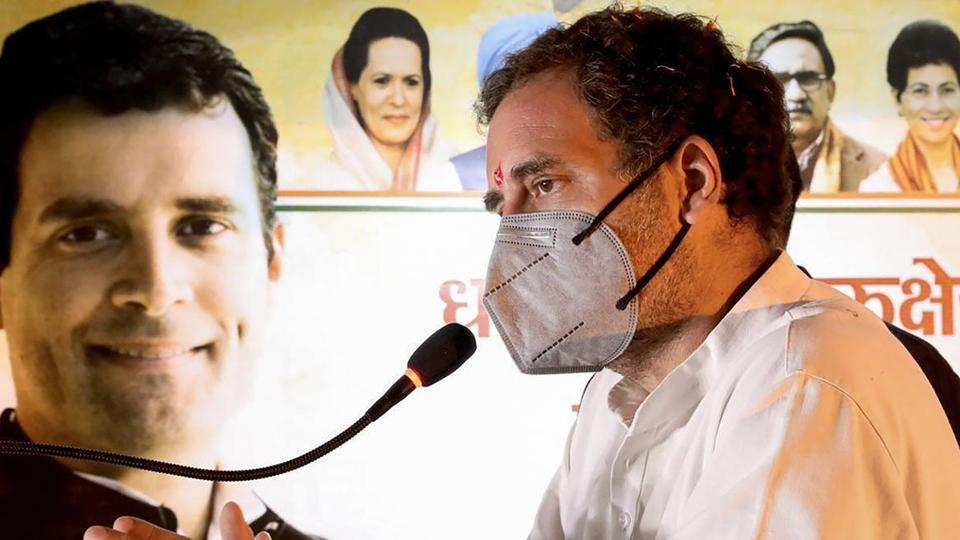 Senior Congress leader Rahul Gandhi addresses a public rally during Kheti Bachao Yatra against the new farm bills, in Kurukshetra.