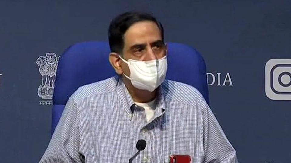 ICMR director general Dr Balram Bhargava addresses a press conference in New Delhi.