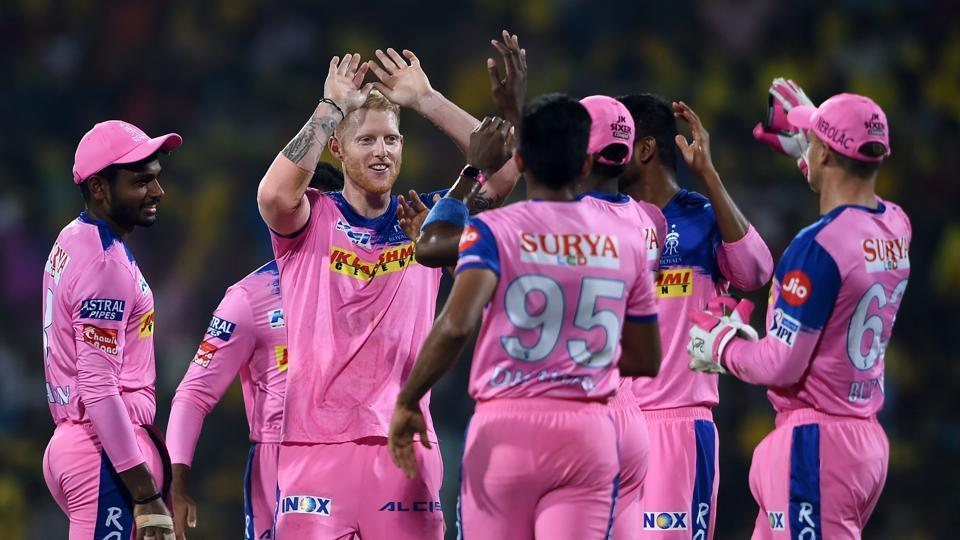 Rajasthan Royals (RR) bowler Ben Stokes celebrates with his teammates after dismissing Chennai Super Kings (CSK) player Shane Watson during the Indian Premier League 2019.