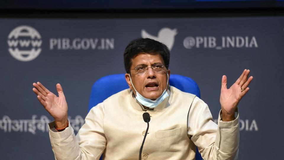 Union Railways Minister Piyush Goyal briefs the media personnel on latest Cabinet decisions, at National Media Centre in New Delhi on Wednesday.