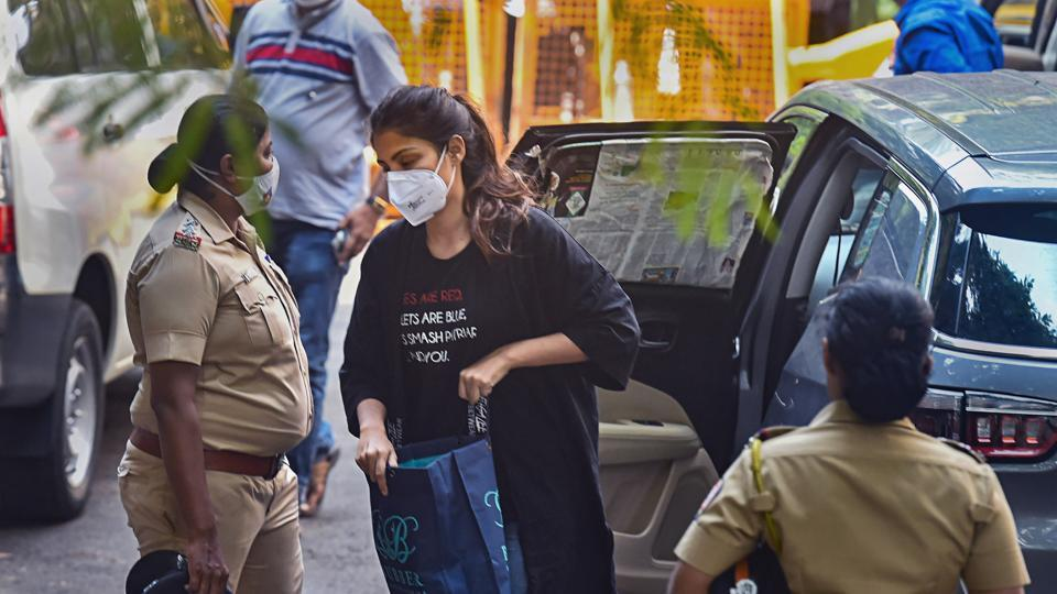Actress Rhea Chakraborty at NCB office on September 8, the day on which she was arrested.