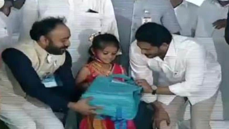 The kits will bring relief to the parents and will help them save money, motivating them further to send their children to school and continue their education, Jagan Reddy said. (Videograb)