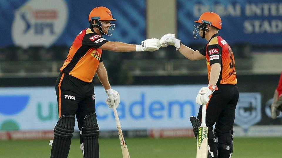 Dubai: Sunrisers Hyderabad batsmen David Warner and Jonny Bairstow during the Indian Premier League 2020 cricket match against Kings XI Punjab, at Dubai International Cricket Stadium, in Dubai, Thursday, Oct. 8, 2020. (PTI Photo/Sportzpics for BCCI)(PTI08-10-2020_000239A) (PTI)