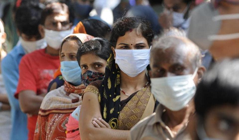 People queue to register for coronavirus tests, Noida, October 07, 2020