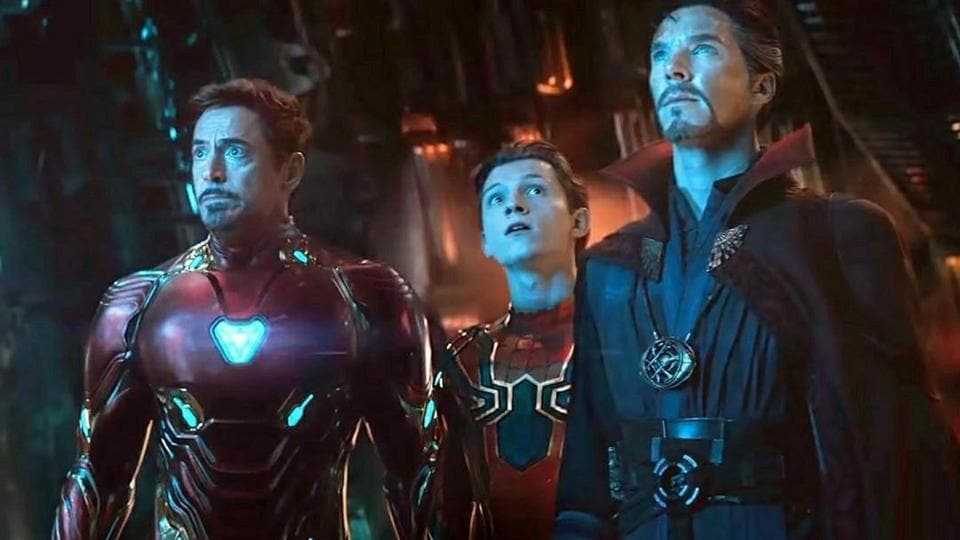 Benedict Cumberbatch, Tom Holland and Robert Downey Jr in a still from Avengers: Infinity War.