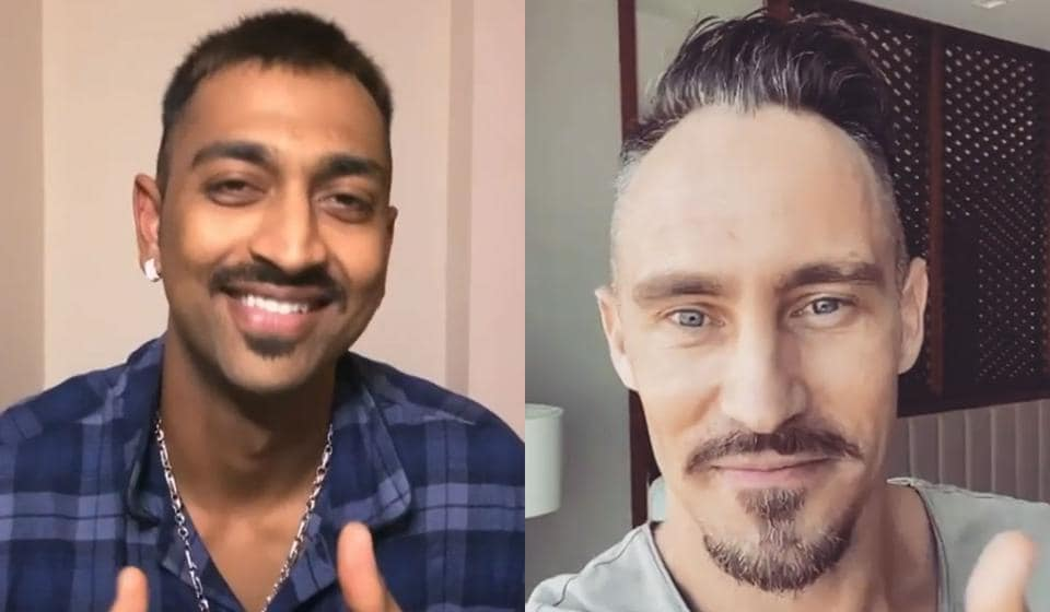 IPL 2020: Krunal Pandya and Faf du Plessis sport their new looks.