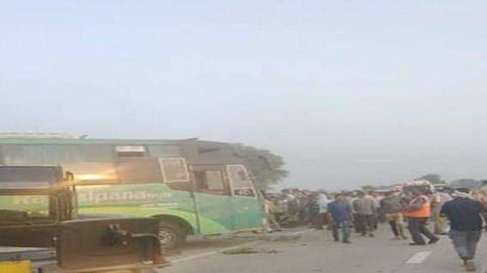 The bus was carrying 45 passengers, was on its way to Delhi from Kanpur.