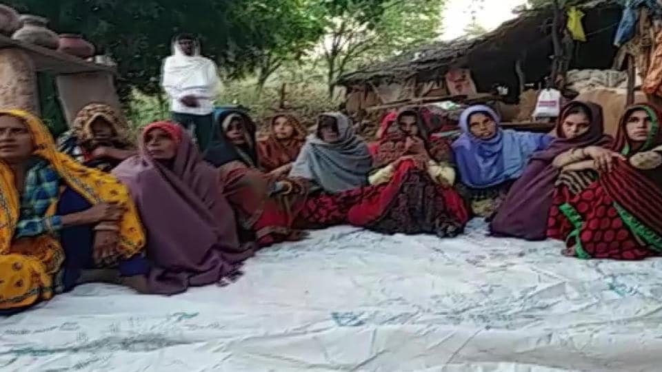 Family members and villagers from Bukna demand justice for Babulal Vaishnav.