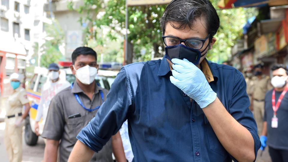 Republic TV editor-in-chief and Prime Time anchor Arnab Goswami appear at NM Joshi Marg police station in Mumbai on June 10, 2020.