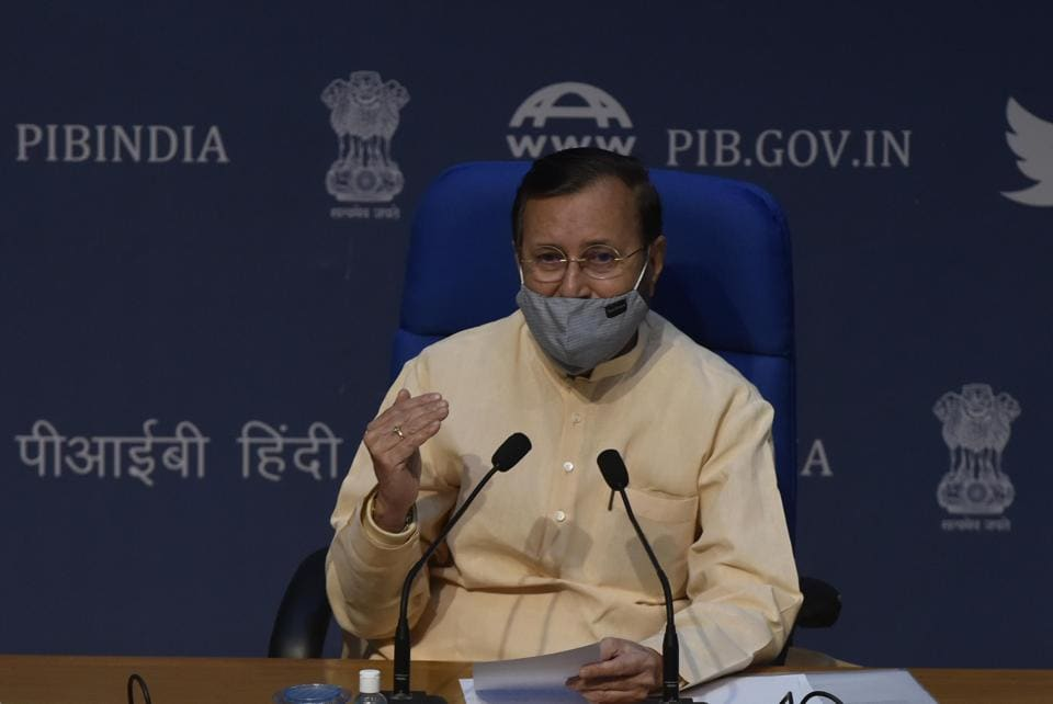 Prakash Javadekar, Minister of Environment, Forest and Climate Change and Information and Broadcasting during a cabinet decision briefing at National Media Centre in New Delhi.