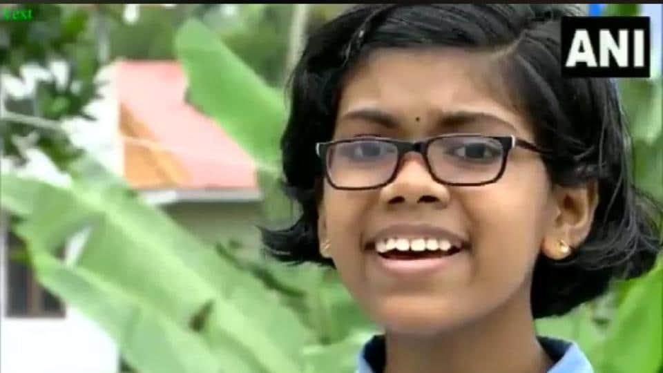The image shows the schoolgirl named Devika from Kerala.