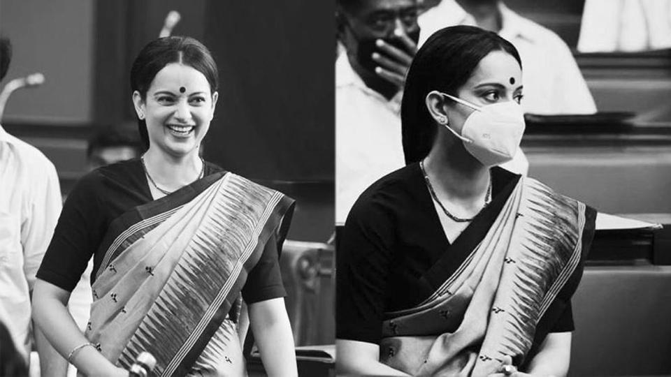 Kangana Ranaut on the sets of Thalaivi.