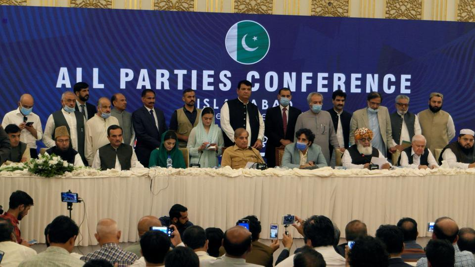 Leaders of the Pakistan's opposition political parties address the closing session of the All Parties Conference (APC) in Islamabad, Pakistan September 20, 2020.