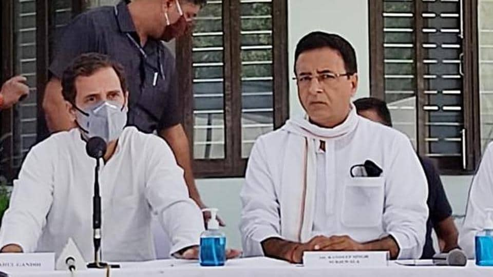 Congress leaders Rahul Gandhi and Randeep Singh Surjewala during a press conference over the farm bills issue in Patiala.