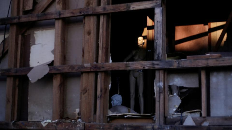 A mannequin is seen inside a building damaged by Hurricane Laura the day after Hurricane Delta swept through Lake Charles in Louisiana on October 10. Hurricane Delta was the 10th Atlantic hurricane to hit mainland US this year, breaking a record set in 1916, Colorado State University researcher Phil Klotzbach told AP. (Kathleen Flynn / Reuters)