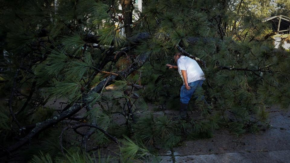 A man tries to clear a tree that was felled after Hurricane Delta made landfall in Jennings, Louisiana on October 10. About 600,000 of the state's electric customers, 25% of the total, were without power on October 10. However, restoration was progressing faster than it did after Laura because Delta's winds were less damaging to the infrastructure, Governor John Bel Edwards told Reuters. (Marco Bello / Reuters)