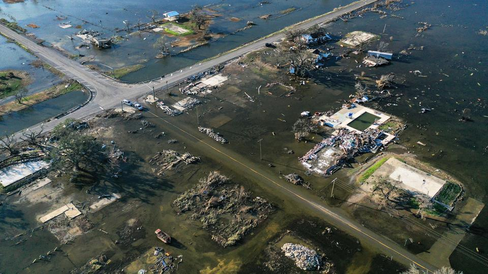 An aerial view of flood waters and destruction caused by Hurricane Delta in Creole, Louisiana on October 10. Delta, the 25th named storm of an unprecedented Atlantic hurricane season, churned ashore on October 9 near the coastal town of Creole with winds topping 155 kph. (Mario Tama / AFP)