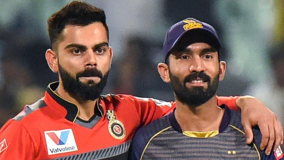 RCB Captain Virat Kohli and KKR Captain Dinesh Karthik.