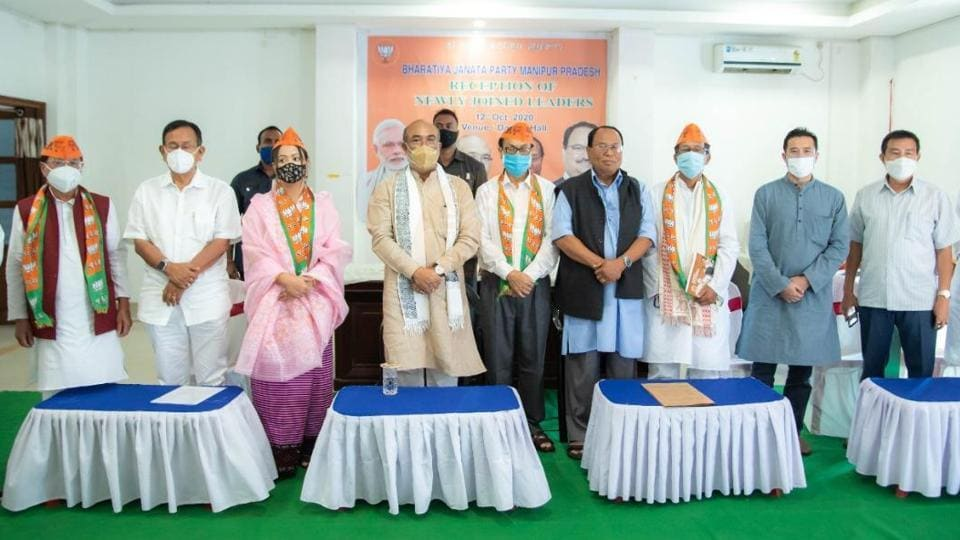 Chief Minister N Biren Singh and president S Tikendra of the BJP Manipur led party leaders including MPs and ministers to felicitate the three prominent leaders and a lady social worker at the Durbar Hall of the CM's bungalow in Imphal on Monday.