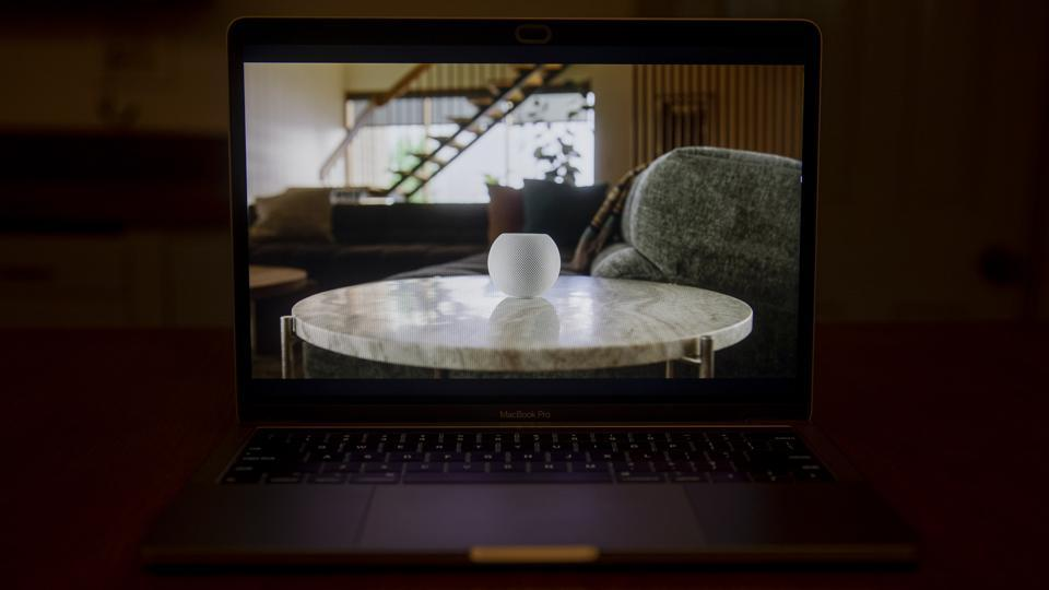 Apple HomePod mini speaker is unveiled during a virtual product launch seen on a laptop computer in Tiskilwa, Illinois, U.S., on Tuesday, Oct. 13, 2020.