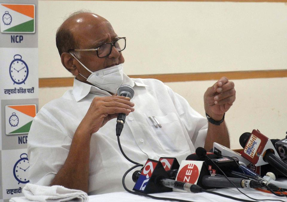 "Nationalist Congress Party (NCP) chief Sharad Pawar addresses the media in Mumbai in this file photo.  Pawar, who is an ally of Uddhav Thackeray's Shiv Sena, talked about the ""intemperate language"" used by BS Koshyari."