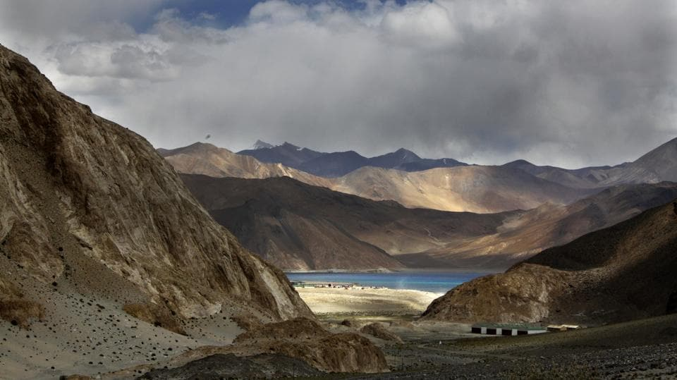 Pangong Tso lake is seen near the India China border in India's Ladakh area.