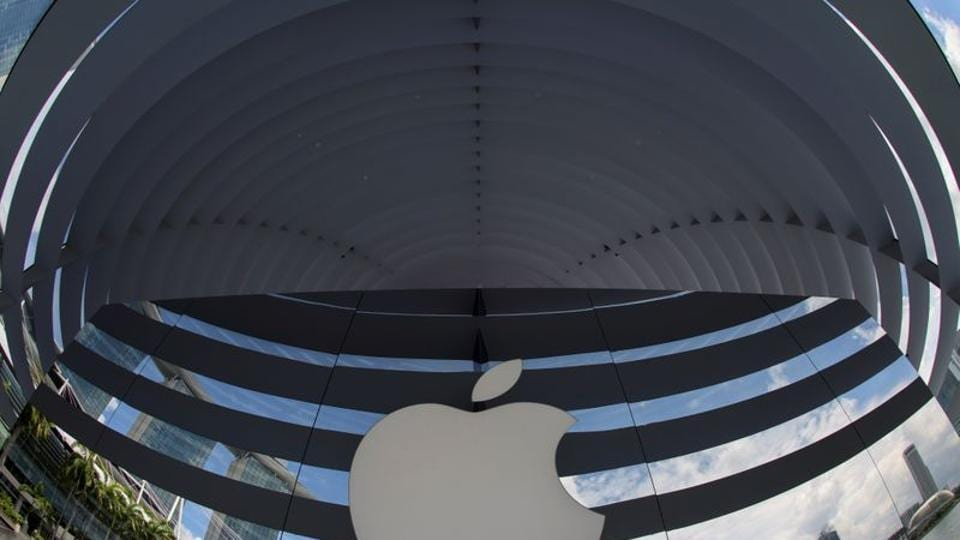 A logo of Apple is seen outside at the upcoming Apple Marina Bay Sands store in Singapore in this file photo. Apple Inc debuted a new HomePod Mini smart speaker on Tuesday, as analysts expected it to unveil a new iPhone 12.