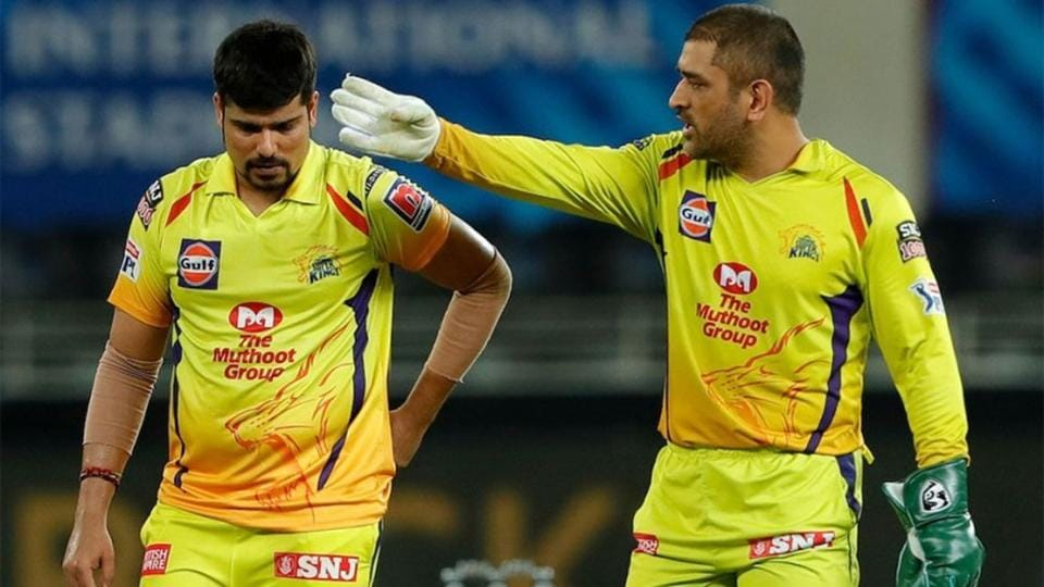 IPL 2020: MS Dhoni gestures to Karn Sharma after he gave away 19 runs in one over.