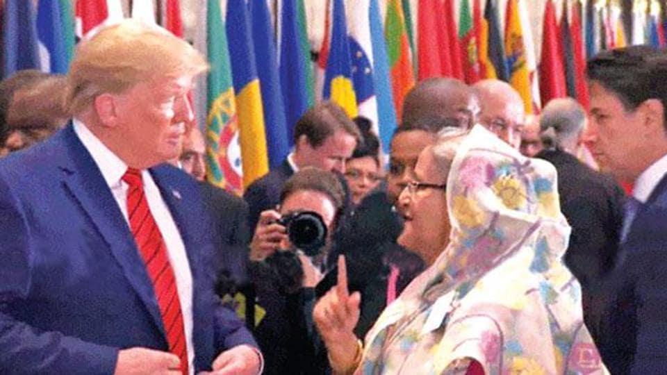 US President Donald Trump and Bangladesh PM Sheikh Hasina.