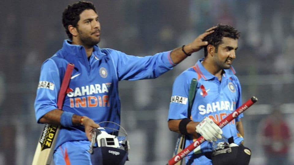 Yuvraj Singh and Gautam Gambhir after guiding India to a win against England in 2013.