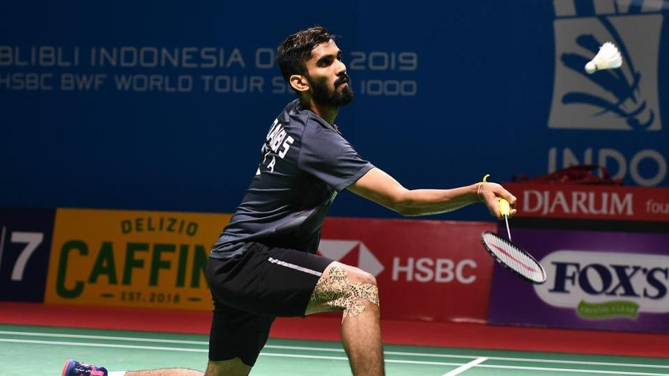 Kidambi Srikanth of India competes against Kenta Nishimoto of Japan on day two of the Bli Bli Indonesia Open at Istora Gelora Bung Karno.