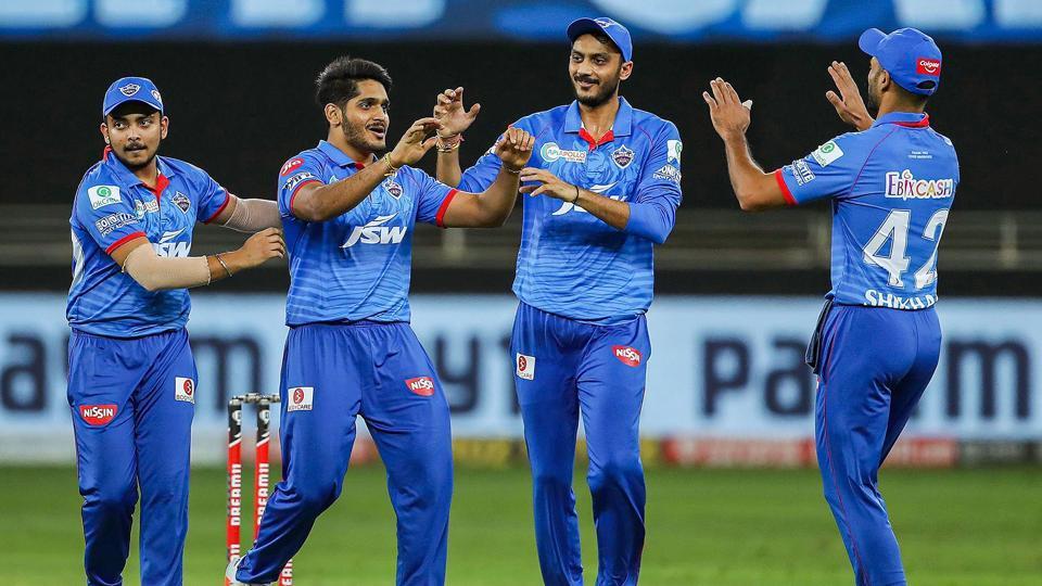 Dubai:Tushar Deshpande of Delhi Capitals celebrates the wicket of Ben Stokes of Rajasthan Royals during the Indian Premier League (IPL) cricket match, at the Dubai International Cricket Stadium in Dubai, Wednesday, Oct. 14, 2020. (PTI Photo/Sportzpics for BCCI)(PTI14-10-2020_000234B) (PTI)