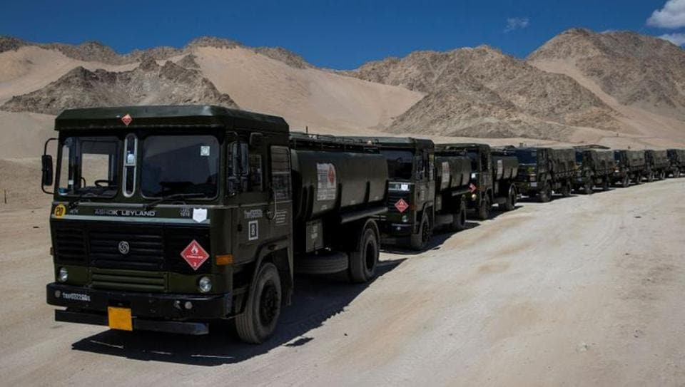 Military tankers carrying fuel move towards forward areas in the Ladakh region.