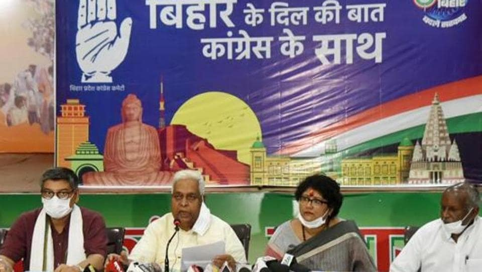 Senior Congress leaders address a press conference in Patna earlier in September.