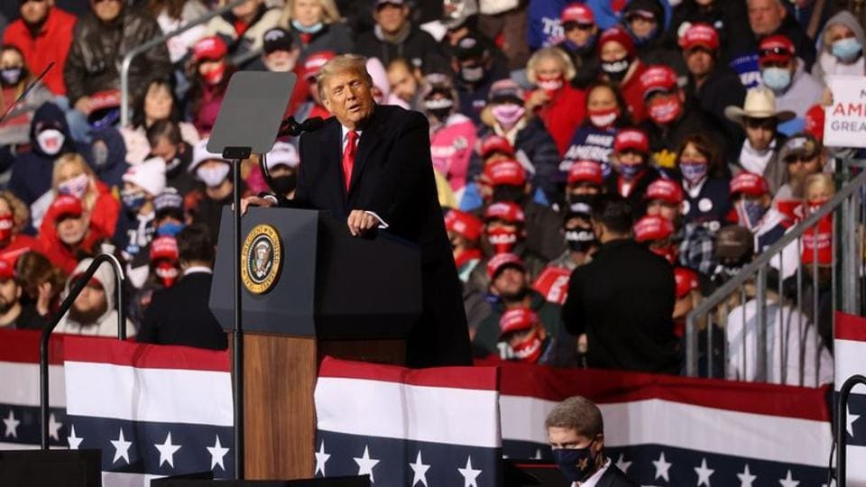 US President Donald Trump holds a campaign rally at John Murtha Johnstown-Cambria County Airport in Johnstown, Pennsylvania (REUTERS/Jonathan Ernst)