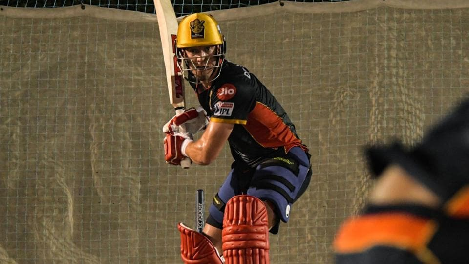 IPL 2020: AB de Villiers has a hit out in the nets.