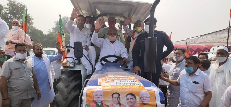 The tractor rally was led by Haryana education minister Kanwar Pal, Ambala MP Rattan Lal Kataria and former state minister Karan Dev Kamboj in Yamunanagar's Jagadhri on Thursday.