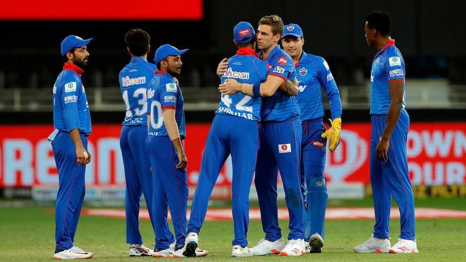 IPL 2020: DC vs RR: Delhi Capitals players celebrate a wicket against Rajasthan Royals.