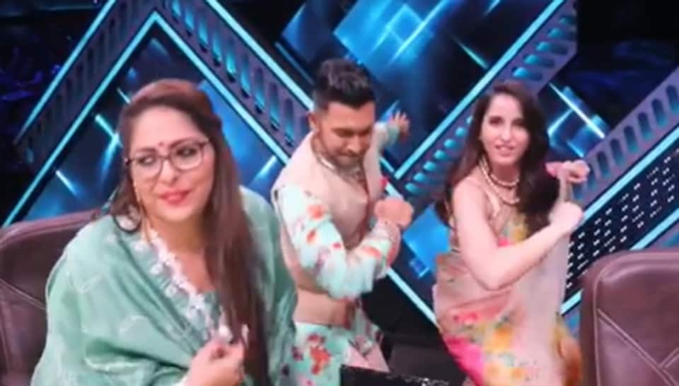 Nora Fatehi on the sets of India's Best Dancer with Terence Lewis and Geeta Kapur.