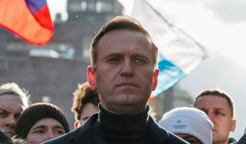 Russian opposition politician Alexei Navalny takes part in a rally to mark the 5th anniversary of opposition politician Boris Nemtsov's murder and to protest against proposed amendments to the country's constitution, in Moscow, Russia February 29, 2020.